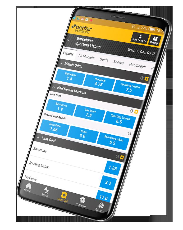 Приложения на Андроид БК Betfair